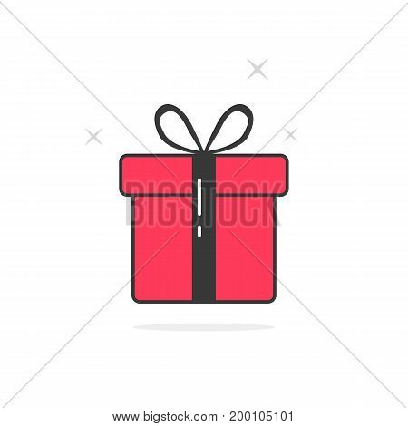 pink and black outline gift box. concept of gift pack, bonus, charity, parcel, clearance sale. gift icon isolated on white background. flat style trend modern gift logo design vector illustration