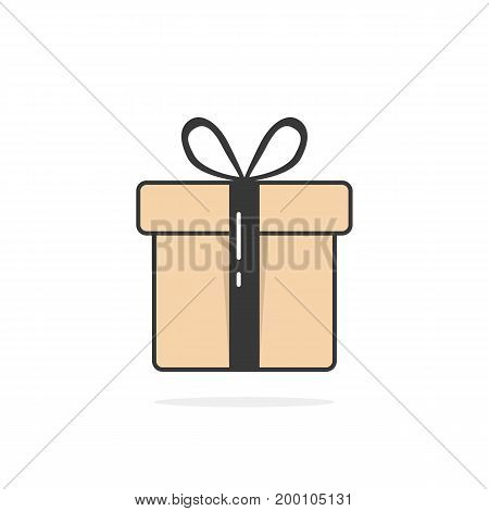 gift icon with black string and shadow. concept of gift icon pack, gift icon sale, gift icon picture. gift icon isolated on white background flat style modern gift icon logo design vector illustration