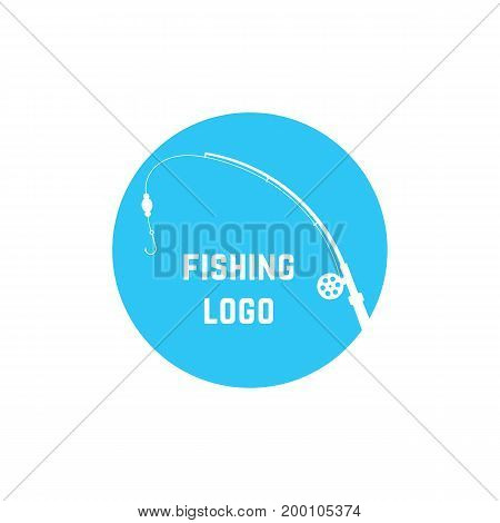 blue simple fishing logo. concept of visual identity, leisure, trap, rest, hunting camp, tourism, holiday, relax. isolated on white background. flat style trend modern brand design vector illustration