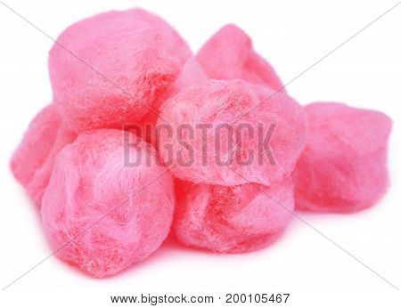 Closeup of Cotton candy over white background