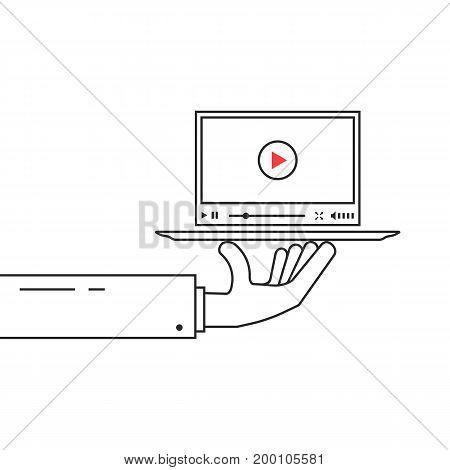 black linear hand holding video player on dish. concept of sharing, e-commerce, seo, vlog, webinar, monetize, blog. isolated on white background. outline style trend modern design vector illustration