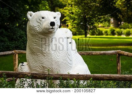 Planckendael zoo Mechelen Belgium - AUGUST 17 2017 : White polar bear built from lego bricks temporary exposition at Planckendael zoo.