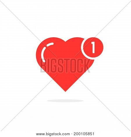 red simple heart like notification. concept of happy valentine day message, ui, charity, positive rating. isolated on white background. flat style trend modern logotype design vector illustration