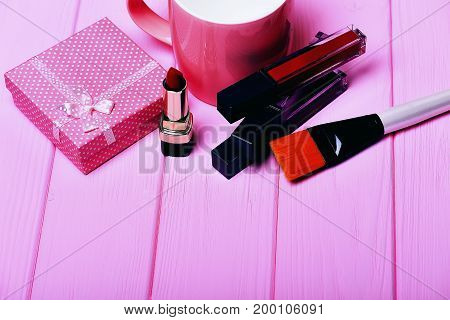Various Cosmetics: Lipstick, Brush, Present Box And Cup