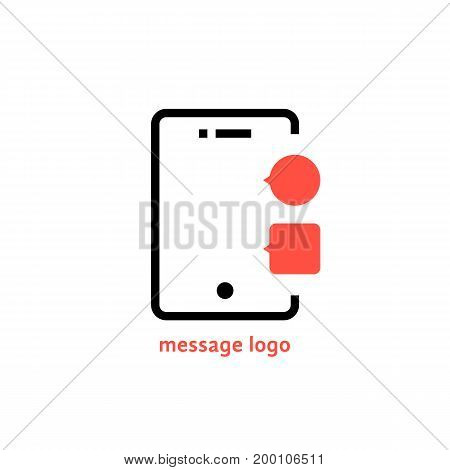 message logo with outline phone. concept of data traffic, voicemail, sms, notice, dialogue, e-mail, inbox. isolated on white background. flat style trend modern logotype design vector illustration