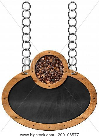 Oval and empty blackboard with roasted coffee beans and copy space. Hanging from a metal chain and isolated on a white background