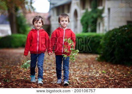 Double Portrait Of Two Children, Boy Brothers In Autumn Garden