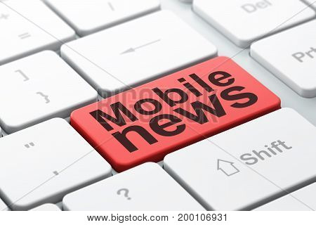 News concept: computer keyboard with word Mobile News, selected focus on enter button background, 3D rendering