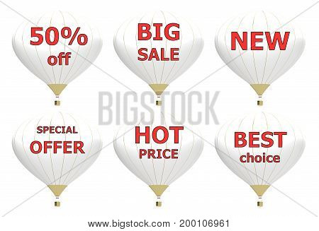 Sale poster concept with percent discount. 3d illustration banner with air balloon. Design for banner flyer and brochure for event promotion business or department store. Isolated on white background
