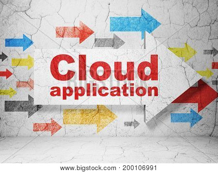 Cloud computing concept:  arrow with Cloud Application on grunge textured concrete wall background, 3D rendering