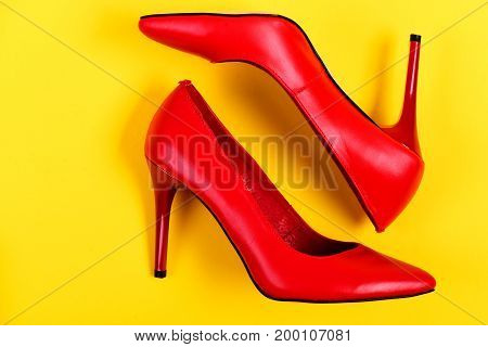 Pair Of Elegant Female Shoes In Red Colour