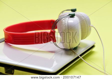 Sound Recording Idea. Earphones In Red And White