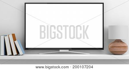 Tv, Books And A Lamp On A Shelf - White Background. 3D Illustration
