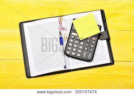 Business And Work Concept: Open Notebook With Blank Pages