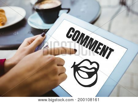 Digital composite of Comment text and mouth graphic on tablet screen with hands