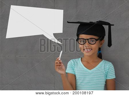 Digital composite of Student girl with speech bubble against grey background