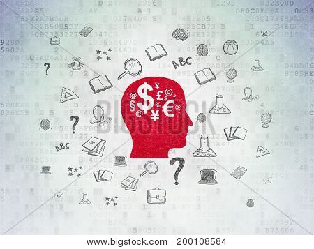 Learning concept: Painted red Head With Finance Symbol icon on Digital Data Paper background with  Hand Drawn Education Icons