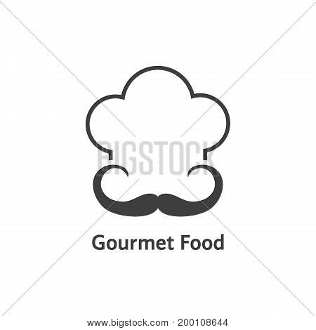black gourmet food logo. concept of headwear, retro badge, hobby, elegant, costume, stamp, haute cuisine. isolated on white background. flat style trend modern chef logo design vector illustration