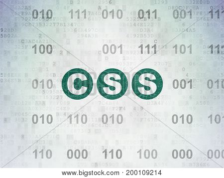 Database concept: Painted green text Css on Digital Data Paper background with Binary Code
