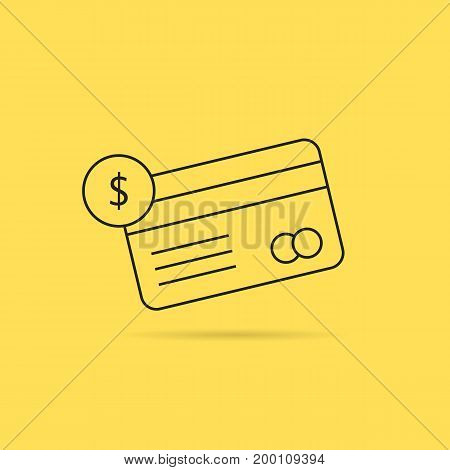 banking with thin line checking credit card. concept of billing, debt, insurance, invest, terminal, virtual store. isolated on yellow background. linear style trend logo design vector illustration