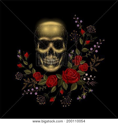 Vintage human skull bone flower red rose arrangement. Embroidery fashion decoration patch. Low poly polygonal triangle dead muertos vector illustration template art