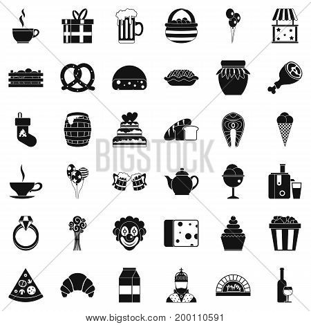 Gift icons set. Simple style of 36 gift vector icons for web isolated on white background