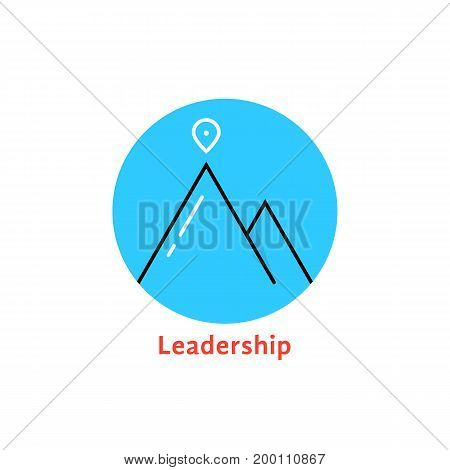 round blue leadership logo. concept of alpinism, solution, ski, rock, aim, mountaineering, way, map pin, attainment. isolated on white background. flat style trend brand design vector illustration