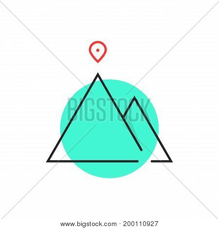 thin line leadership logo in green circle. concept of alpinism, solution, ski, rock, aim, way, map pin, attainment. isolated on white background. flat style trend brand design vector illustration