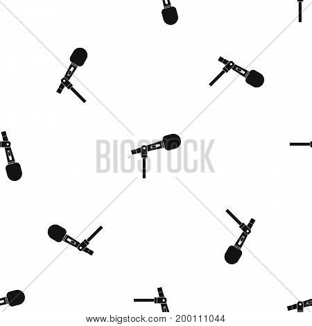 Microphone pattern repeat seamless in black color for any design. Vector geometric illustration