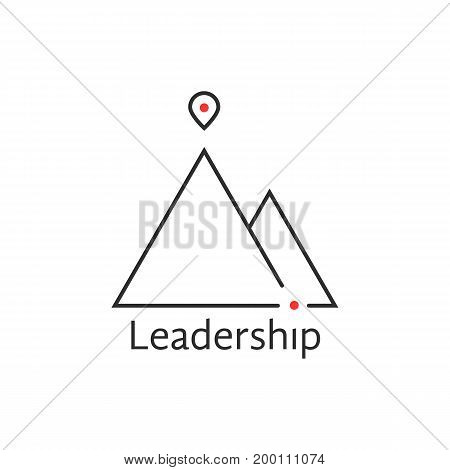 black thin line leadership logo. concept of alpinism, solution, ski, rock, aim, way, map pin, attainment, opportunity. isolated on white background. flat style trend brand design vector illustration