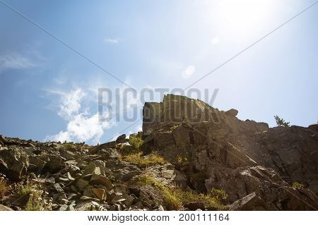 Stone Deposits On The Top Of A High Mountain