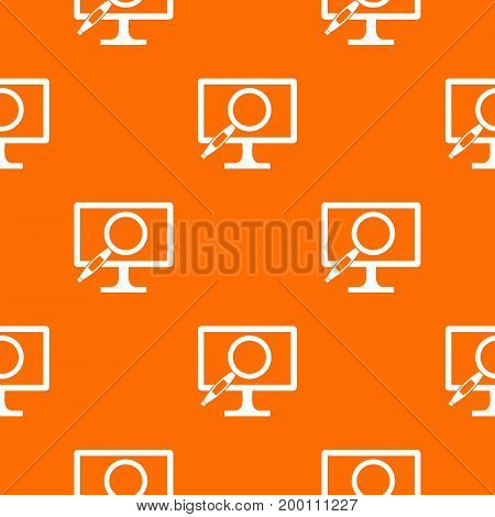Computer monitor magnifying glass pattern repeat seamless in orange color for any design. Vector geometric illustration