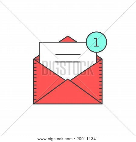 red outline email notification icon. concept of ui, sms, spam, shopping, notify, chat, check list, e-commerce. isolated on white background. linear style trend modern logo design vector illustration