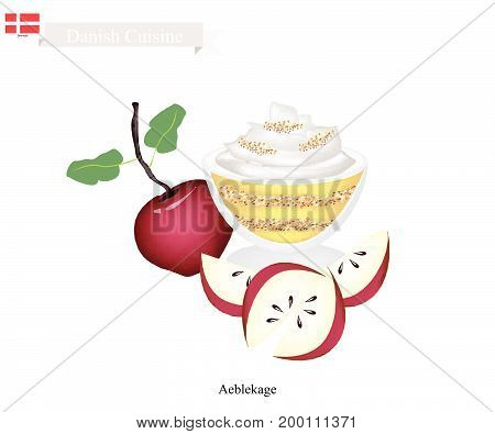 Danish Cuisine, Aeblekage or Traditional Apple Cake Made of Stewed Apple and Cookie Crumbs or Bread Crumbs and Crushed Makroner Topped with Whipped Cream. One of The Most Popular Dessert in Denmark.