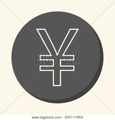 Symbol of Chinese Yuan and Japanese Yen vector round line icon with the illusion of volume color change in one click