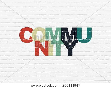Social network concept: Painted multicolor text Community on White Brick wall background