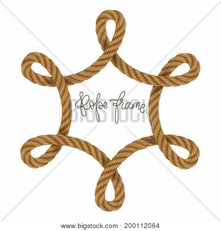 Rope vector frame, may use for invitation in you designs marine style
