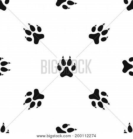 Cat paw pattern repeat seamless in black color for any design. Vector geometric illustration
