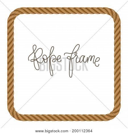 Rope vector frame in shape rectangle with rounded edges. May use for invitation in you designs marine style