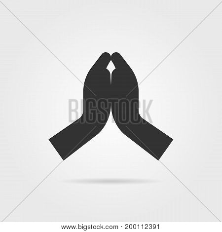 simple black praying hands with shadow. concept of praise, support, blessing, shrift, hinduist, gratitude, bible. isolated on gray background. flat style trend modern logo design vector illustration
