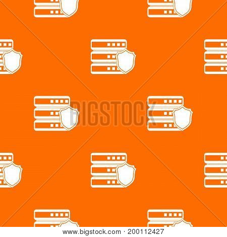 Database with gray shield pattern repeat seamless in orange color for any design. Vector geometric illustration