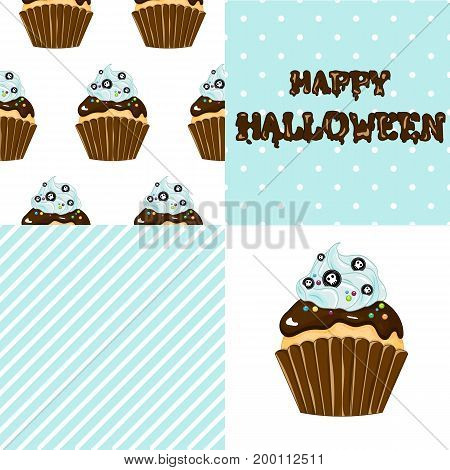 Stock vector. Sweet cupcake on the occasion of Halloween. The chocolate glaze. Set for your design.