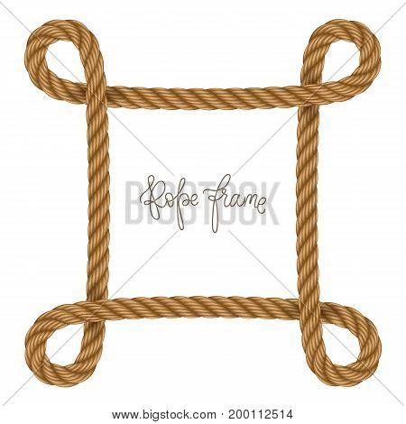 Rope vector frame in shape of  rectangle with curved corners, may use for invitation in you designs marine style