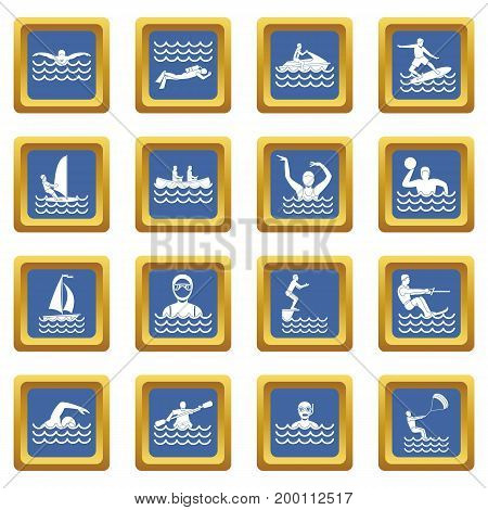 Water sport icons set in blue color isolated vector illustration for web and any design
