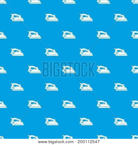 Iron pattern repeat seamless in blue color for any design. Vector geometric illustration