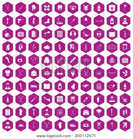100 medical care icons set in violet hexagon isolated vector illustration