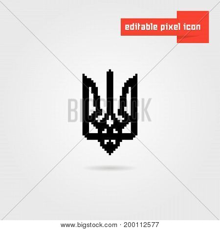 black pixel art ukrainian emblem. concept of symbolism, kyiv, mark of distinction, ukrainian revolution, tourism. isolated on white background. flat style trend modern logo design vector illustration