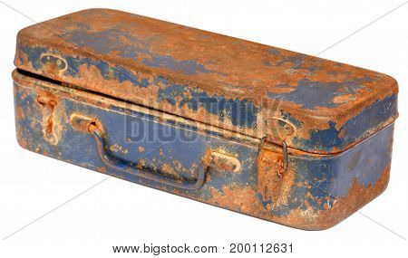 Closeup of Vintage tool box over white background