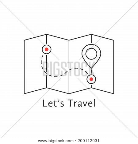 thin line travel map with pin. concept of locate, landmark, brochure, needle, searching, honeymoon, trip, guidance. isolated on white background flat style trend modern logo design vector illustration