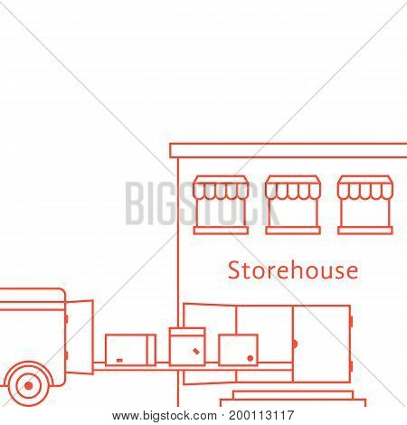 red thin line storehouse building. concept of lorry, stock, depot, truck, transit, import, export, van, courier. isolated on white background. linear style trend modern design vector illustration